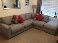 Furniture Village Dune Fabric Corner Classic Back Sofa with Footstool - selling for £850