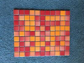 99 GLOSSY MOSAIC TILES - MIXED RED/ORANGE HUES