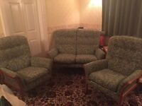 Parker Knoll suite in teak and sage