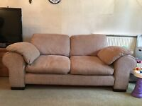 Two seater fabric Sofa with matching Pouffe included