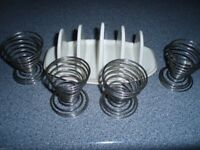 Metal Wire Egg Cups x 4 and TOAST RACK - RETRO BREAKFAST PACKAGE