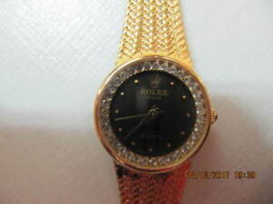 Classic Geneve Quartz Replica Gold Tone LadiesWatch  Circa 1970s