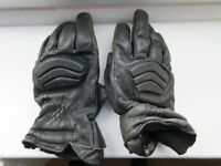 Ladies black leather motorcycle gloves (large ladies)