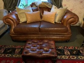FABB CHESTERFIELD GRAND SOFA AND FOOTSTOOL