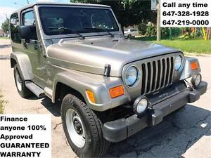 2003 Jeep TJ Sahara FINANCE 100% APPROVED WARRANTY 647-219-0000