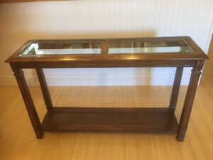 Hall or Sofa Table - Wood, Glass and Cane
