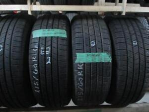 215/60R16 SET OF 4 USED MICHELIN A/S TIRES