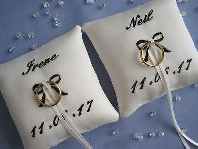 2 x PERSONALISED POCKET SIZE WEDDING RING CUSHIONS/PILLOWS WHITE OR IVORY BRIDAL