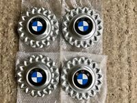 Set 4x NEW BMW centre caps for alloy wheels 80s BBS hub cross spokes E32 E24 E34 RARE