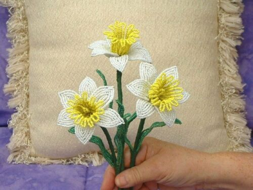 ** French Beaded Flowers ** 3 Handmade White and Yellow Daffodils  **