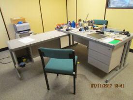 Grey Oak Effect Office Desk with Return