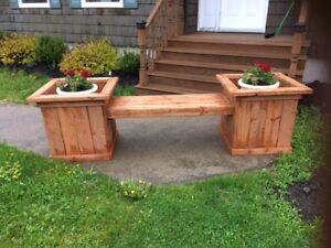 Flower Planter with Bench for Sale