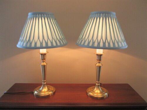 Vintage Tole Era Laura Ashley Brass Lamps with Baby Blue Fenn Shades-Super Fine