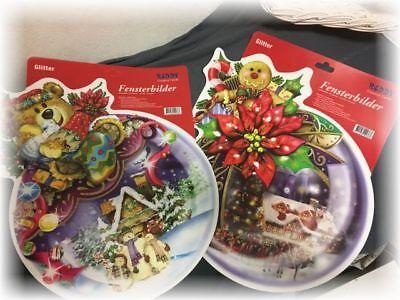 2 gr.Fensterbilder Weihnachten*Kugel Reddy Creative Cards selbstklebend Glitter