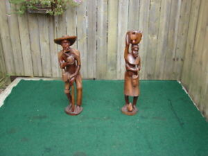 Pair of wooden statues