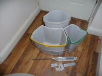 a Kitchen cupboard mounted swing big rubbish holder – 3 compartments with lid