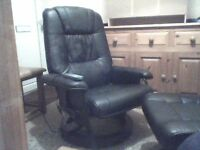 black leather massage chair and footstool,heating,and 10 massage settings, excellent condition.
