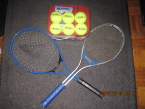 TENNIS LOT: TENNIS RACKETS(X2) & 6 NEW TENNIS BALLS
