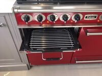 Falcon 1092 Deluxe Dual Fuel Range Cooker - Cherry Red, Brushed Chrome Trim with Matt Pan Supports