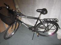 Black Alloy Hybrid Bike 700C . Ammaco Suburban . New . Unused . Front basket , rear rack.