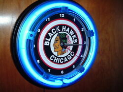 *Chicago Blackhawks Throwback Hockey Man Cave Blue Neon Wall Clock Sign