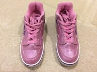 Girls Pink/Purple Glitter Heelys Size 3 VGC