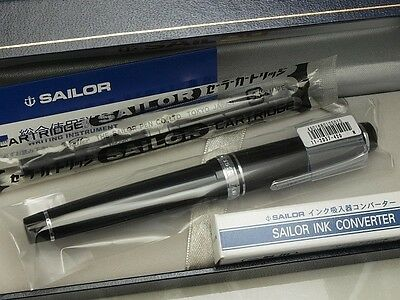Japanese Sailor Professional Gear Silver with converter Medium nib 11-2037-420