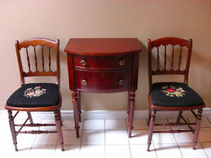 Antique Spindle Side / Hall Needlepoint Chairs : Pair