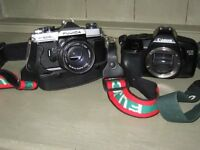CANON EOS 8500 SLR CAMERA BODY AND FUJICA ST605 FOR REPAIR OR PARTS