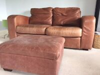 2 x brown leather settees and matching pouffe
