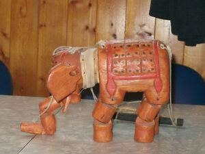 Antique Wooden India Elephant Puppet with Strings