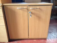 Used - Wooden Lockable Office / Home Storage Unit Cabinet Cupboard