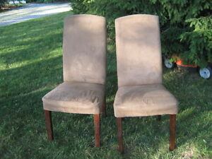 BEIGH SWADE LEATHER COVERED CHAIRS FOR SALE