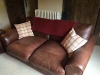 Beautiful vintage style 2 seater John Lewis Sofa with matching foot stool