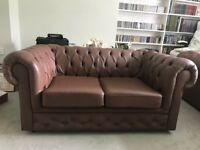 Pair of Two Seater Leather Chesterfields. Good condition, good quality.
