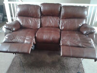 LEATHER SOFA WITH ELECTRIC RECLINERS