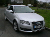10 REG AUDI A3 1.4T FSI SPORT 3 DOOR HATCHBACK IN SILVER FULL BLACK LEATHER HPI