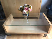 M&S beech wood and glass coffee table