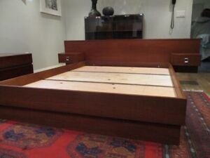 MCM Teak Queen Bed Frame with Floating Night Tables