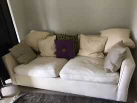 Cream Three seater sofa with all cushions