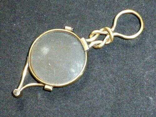 Rare Antique Early Victorian Gold Plated Scissors-Lorgnette, Square Knot Handle