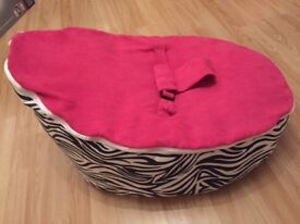 Pink and Zebra Print Baby Beanbag