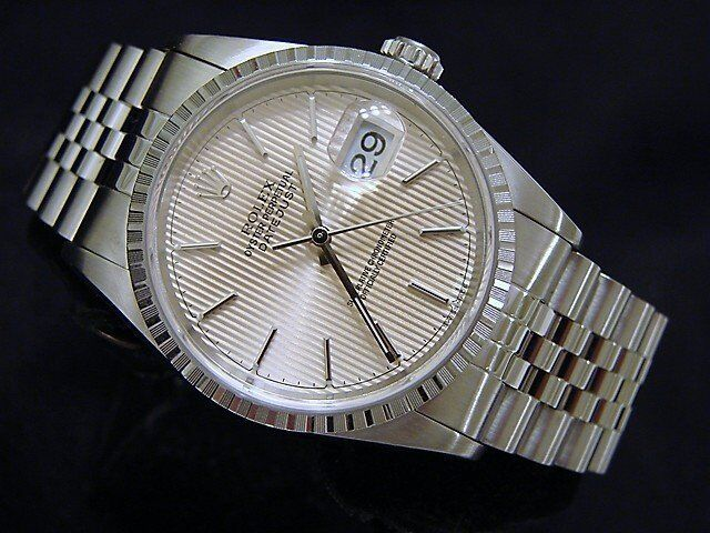 Rolex Datejust Men Stainless Steel Jubilee Band Silver Tapestry Dial Watch 16220