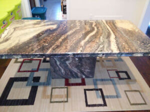 Marble Dining Table with Marble Base (with Minor cracks)