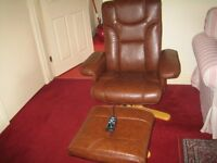 Brown Leather Massager Chair with Foot Stool, with remore control - £135.00