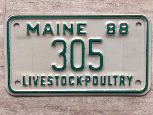 1988 Maine Livestock-Poultry License Plate #305 (Motorcycle Size) RARE!