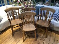 4 Farmhouse Chairs including 2 Carvers