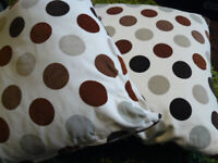 Pair Ikea Cream Neutral Spotted Polka Dot Cushions inc. pads