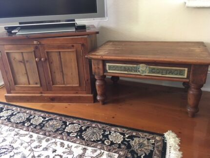 Timber coffee table and matching TV cabinet