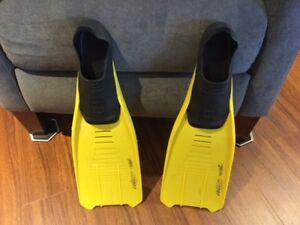 SWIMMING FLIPPERS:  SIZE 35-36:    AGES 8 TO 10